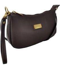 bolsa carteira clutch topgrife transversal couro marrom - feminino