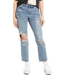 women's blanknyc ripped straight leg ankle jeans