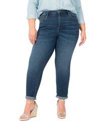 plus size women's kut from the kloth rachael roll cuff high waist mom jeans, size 24w - blue