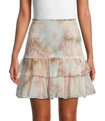 tie-dye tiered ruffle skirt