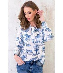 strik blouse jungle blauw
