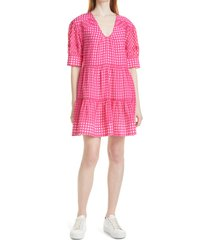 women's tanya taylor cayla gingham dress, size large - pink