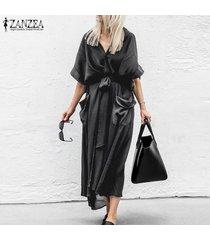 zanzea verano de las mujeres de manga corta de tapas largas kaftan cardigan beach bloqueador solar coats -negro