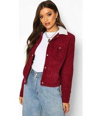 padded borg collar cord jacket, berry