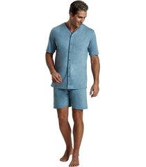 pijama recco aberto mescla comfort azul - kanui