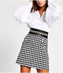 river island womens black boucle check chain belted mini skirt