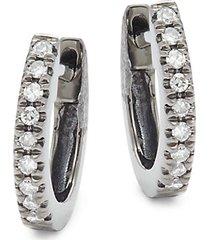 14k rhodium-plated black gold & diamond huggie earrings
