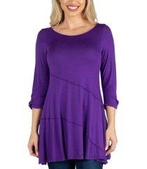 24seven comfort apparel three quarter sleeve flared tunic top