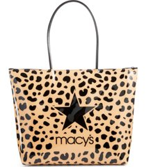 dani accessories camel leopard-print logo tote bag, created for macy's