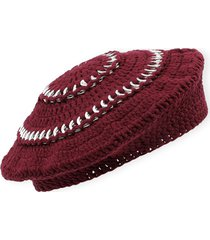 women's ganni cotton knit beret - burgundy