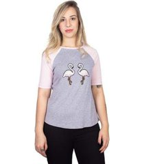 camiseta feminina mesclada raglan flamingos - feminino