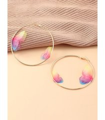 3d butterfly alloy hoop earrings