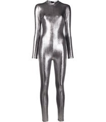 alchemy metallic full-body jumpsuit - silver