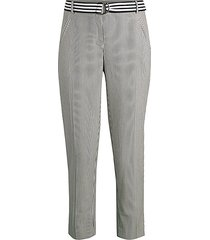 belted pinstriped tapered pants