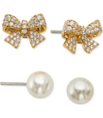 eliot danori 2-pc. set pave bow & imitation pearl stud earrings, created for macy's