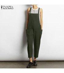 zanzea mujeres sueltan bib pantalones pantalones peto mono más el tamaño de traje de trabajo -verde