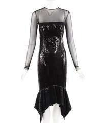 alexandre vauthier black sheer sequin trumpet dress black sz: s