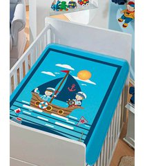 cobertor jolitex infantil para bebê - azul/marinho
