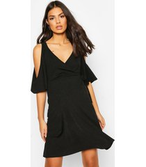 maternity cold shoulder wrap dress, black