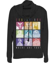 fifth sun scooby-doo rainbow monster box up cowl neck women's pullover fleece