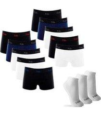 kit com 10 cuecas cotton comfort e 3 pares de meias cano curto - polo match masculino