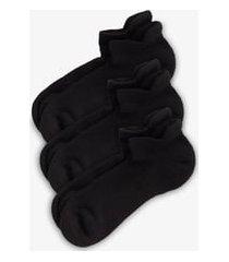 zella 3-pack tab back socks, size 9-12 in black at nordstrom