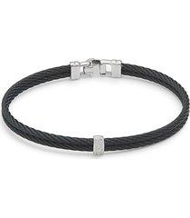 alor women's stainless steel, 18k white gold & diamond cable bracelet