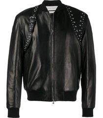 alexander mcqueen studded harness bomber jacket - black