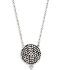 sterling silver & cubic zirconia pavé disc pendant necklace
