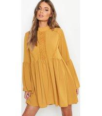 boho crochet detail wide sleeve smock dress, mustard
