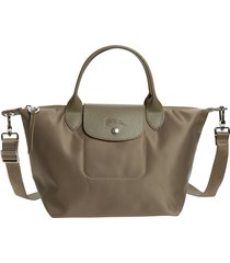 longchamp small le pliage neo nylon tote - brown