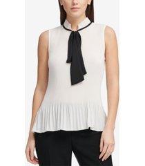 dkny petite pleated tie-neck blouse