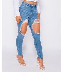 boyfriend jeans paris extreme distressed high waist skinny jeans -