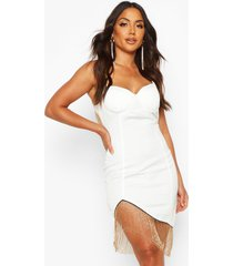 satin cupped metal fringe trim mini dress, white