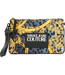 versace jeans couture barocco print clutch bag - grey