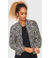 chaqueta vero moda cebra blanco/ negro - calce regular