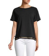 karl lagerfeld paris women's buttoned-sleeve top - black - size xl