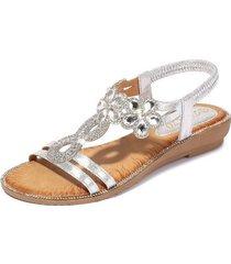sandalias de verano con flores de diamantes de imitación mujer-plata