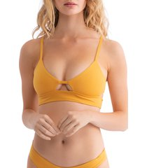 women's tavik juliet bikini top, size medium - yellow