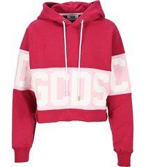 gcds colour-block logo hoodie