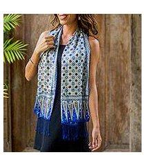 silk batik scarf, 'blue jasmine' (indonesia)