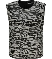self portrait zebra sequin sleeveless top