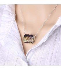 collana con ciondolo vintage in resina con motivo geometrico cilindrico collana con ciondolo vintage con fiore per donna