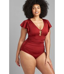 lane bryant women's shimmer flutter-sleeve no-wire swim one piece with goldtone rings 28 red dahlia