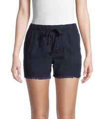 for the republic women's frayed hem drawstring shorts - black - size xs