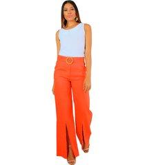 pantalón en lino tiro alto naranja unipunto 4985