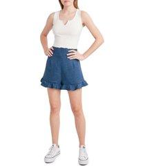 bcbgeneration high-rise ruffled-hem shorts