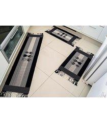 jogo de tapete  cozinha biju preto talher com 3 peã§as - valle enxovais - preto - dafiti