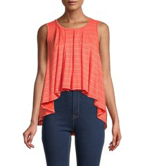 free people women's turn it up striped high-low tank top - ivory blue - size s