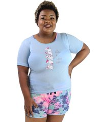 "pijama feminino have a good"" azul claro shorts tie dye plus size"""